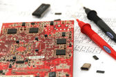 Electronic circuit board with elements and circuitry documentation — Stock Photo