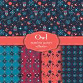 Owl Seamless Pattern Collection Vector illustration Wallpaper Backgrounds — Stock Vector