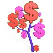 3d dollar sign on a tree — Stock Photo