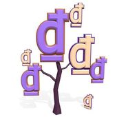 3d dong sign on a tree — Stock Photo