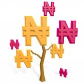3d naira sign on a tree — Stock Photo