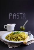 Pasta with pesto basil — Stock Photo