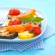 Grilled vegetables on a blue plate — Stock Photo #79014186