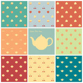 Eight patterns time for tea — Vector de stock