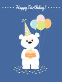 White teddy bear with cake and baloons. Greeting card Happy Birthday. — Stock Vector
