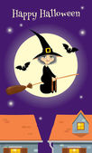 Halloween greeting card, witch flying over a town — Stock Vector