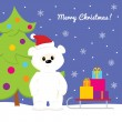 Christmas card with baby polar bear, christmas tree, sled and presents — Stock Vector #57344759