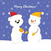 Christmas card with baby polar bear and snowman — Stockvektor