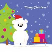 Christmas card with baby polar bear, christmas tree, sled and presents — Stock Vector