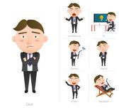 Businessman corporate life flat design 7set-employee — Stock Vector