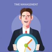 Flat character of time management concept illustrations — Stock Vector