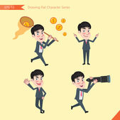Set of drawing flat character style, business concept young office worker activities - funding, ability, counsel, finding — Stock Vector