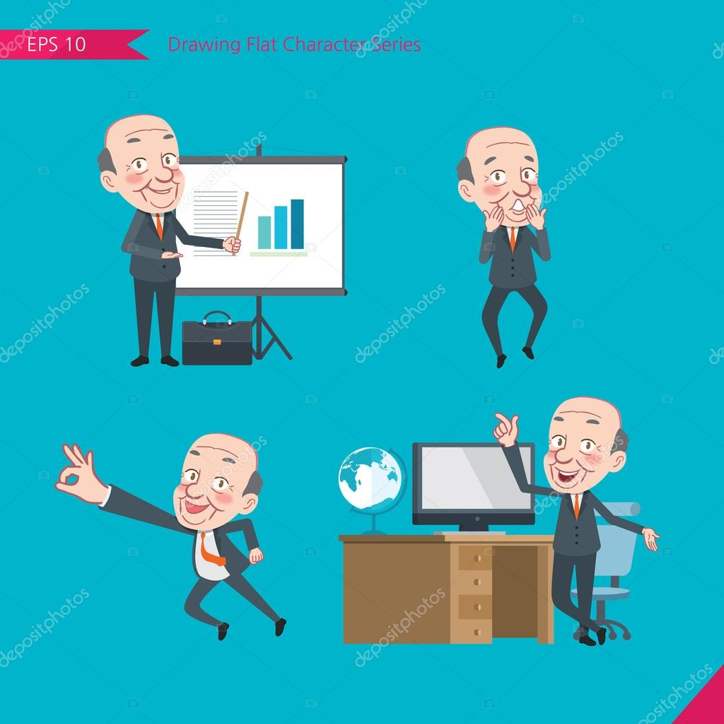Set of drawing flat character style, business concept ceo ...