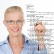 Blond woman correcting a script — Stock Photo #62746345