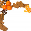 Xmas frame deco with orange, anise, cinnamon — Stock Photo #60551637