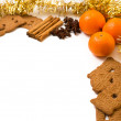 Xmas frame deco with orange, anise, cinnamon — Stock Photo #60551663