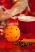 Merry christmas decoration with orange and cup — Stock Photo