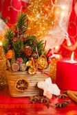 Christmas deco with candel — Stock Photo