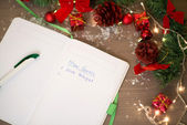 New Goals written at notebook with christmas decorations — Stock Photo