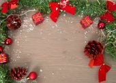 Merry christmas deco at wood background — Stock Photo