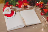 Blank notepad with a pan and new year decoration  — Stockfoto