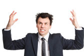 Businessman isolated on white burnout — Stock Photo
