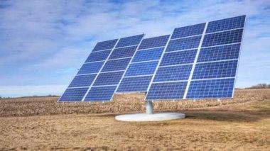 Timelapse pohled na solární panel, stěhování — Stock video