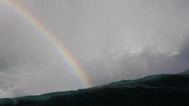 Ein Regenbogen an der Spitze der Niagarafälle — Stockvideo
