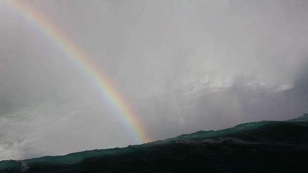 Un arco iris en la parte superior de las Cataratas del Niágara — Vídeo de stock
