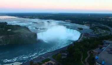 An aerial night view of Niagara Falls — Stock Video