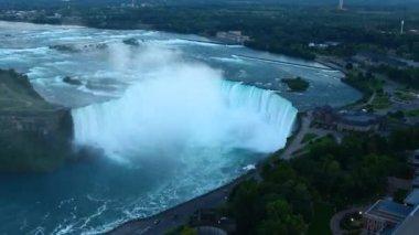 A tight aerial night view of Niagara Falls — Stock Video