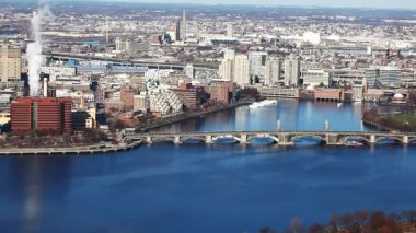 Aerial of the city of Boston, Massachusetts along the Charles River — Stock Video