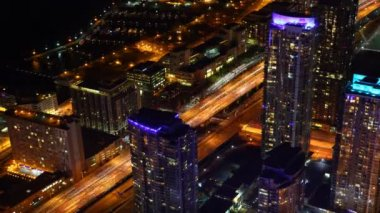 A timelapse aerial view of Toronto, Canada traffic at night — Stock Video