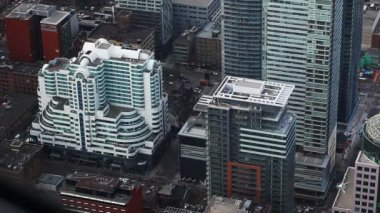 An aerial view of Toronto, Canada streets — Vídeo Stock