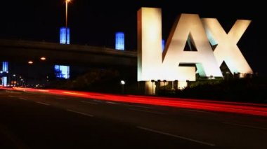 Los Angeles Airport sign (LAX) at night — Stock Video