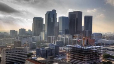 Misty view of Los Angeles city center — Stock Video