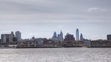 Timelapse of Philadelphia across the Delaware River — ストックビデオ