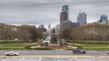 A Timelapse of Philadelphia from the Museum of Art — Stock Video