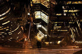 An aerial view of night traffic in Manhattan — Stockfoto