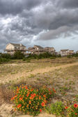 Cape Hatteras with storm clouds and flowers in front — Stock Photo