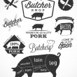 Pork Cuts Diagram and Butchery Design Elements in Vintage Style — Stock Vector #65344773
