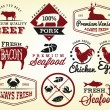 Collection of Premium Beef, Chicken and Pork Labels and Design Elements in Vintage Style — Stock Vector #65345767