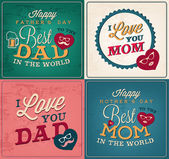 Collection of Mother's and Father's Day Greeting Card Templates in Vintage Style — Stock vektor