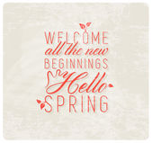 Spring Typography Background in Vintage Style — Stock vektor