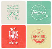 Spring Typography Background Set in Vintage Style — Stock Vector