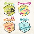Cute Seasons Illustrations and Badges Set — Stock Vector #65581311