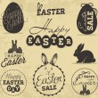 Easter Greeting Card Design Elements, Labels and Badges in Vintage Style. Vector Illustrations — Stock Vector #65582279