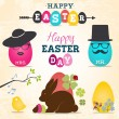 Easter Greeting Card Design Elements, Labels and Badges in Vintage Style. Vector Illustrations — Stock Vector #65583395