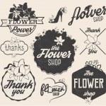 Flower Shop Design Elements, Labels and Badges in Vintage Style — Stock Vector #65583607