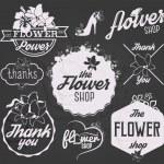 Flower Shop Design Elements, Labels and Badges in Vintage Style — Stock Vector #65583613